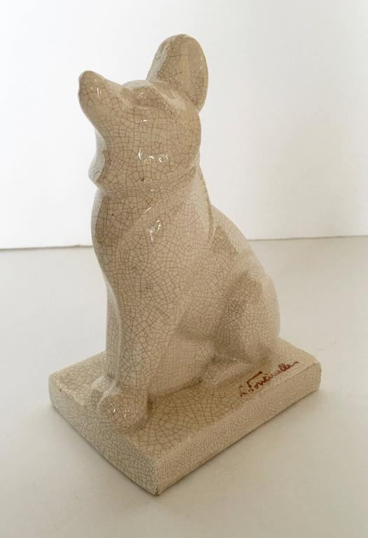 French Art Deco Ceramic Dog Sculpture by Louis Fontinelle 1