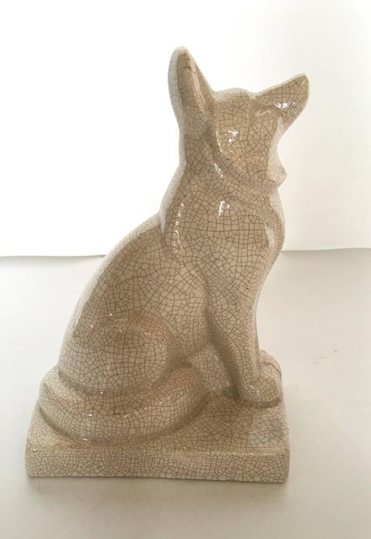 Glazed French Art Deco Ceramic Dog Sculpture by Louis Fontinelle