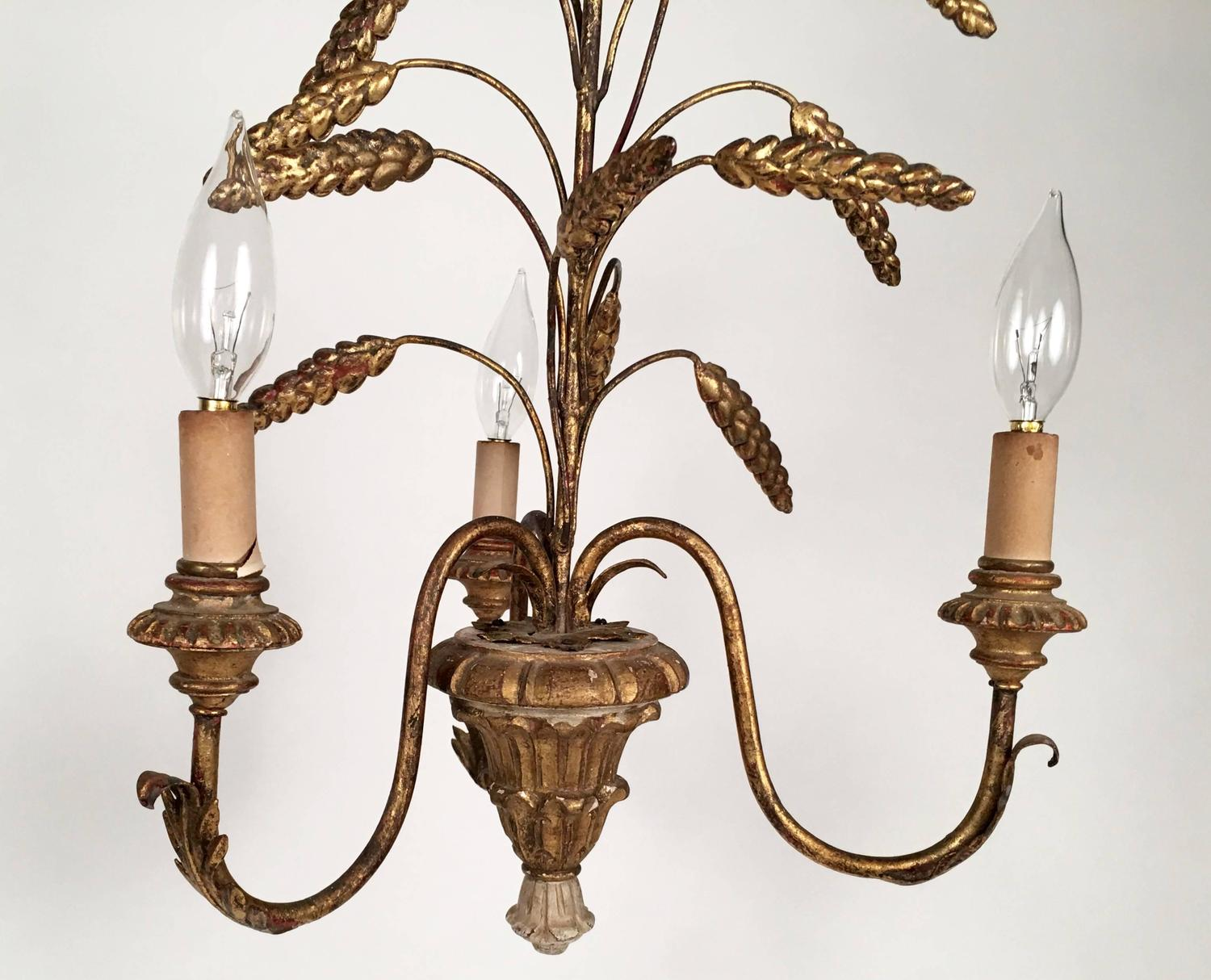 Sea Gull Lighting Windgate 9 In W 3 Light Brushed Nickel: Small Gilded Sheaf Of Wheat Three-Light Chandelier At 1stdibs
