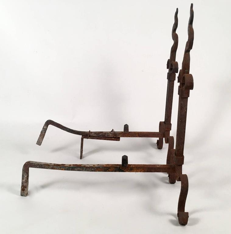 Pair of Arts and Crafts Period Wrought Iron Andirons In Fair Condition For Sale In Essex, MA