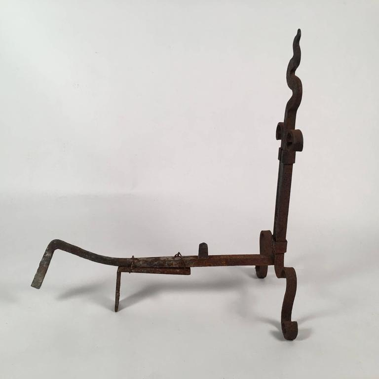 20th Century Pair of Arts and Crafts Period Wrought Iron Andirons For Sale