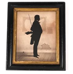 Unusual 19th Century Silhouette of an Ominous School Master or Teacher