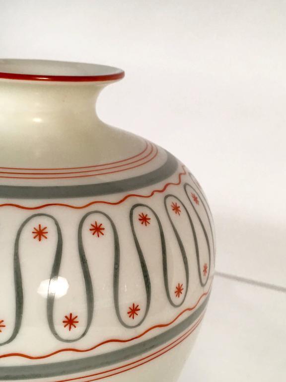 Hand-Painted Art Deco German Porcelain Vase, circa 1930 For Sale