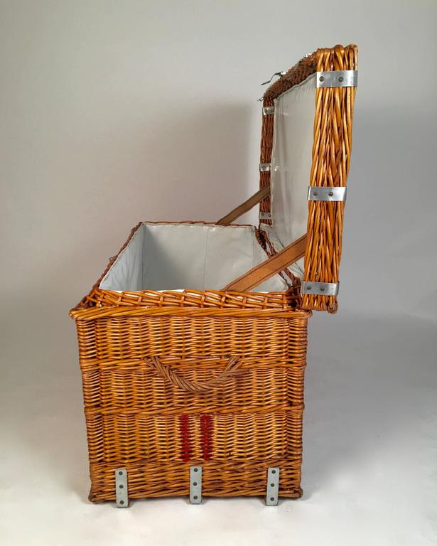French Lined Wicker Trunk Hamper Or Coffee Table At 1stdibs