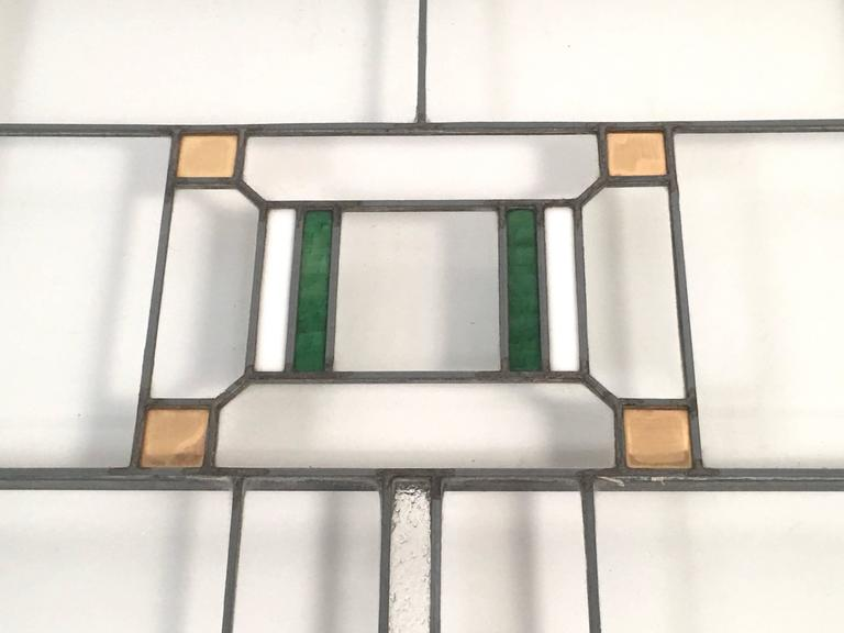 Arts and Crafts Prairie School Stained Glass Windows in the Manner of Frank Lloyd Wright For Sale