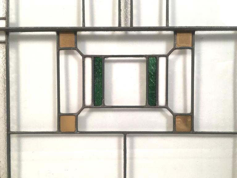 American Prairie School Stained Glass Windows in the Manner of Frank Lloyd Wright For Sale