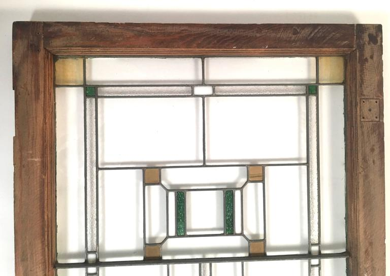20th Century Prairie School Stained Glass Windows in the Manner of Frank Lloyd Wright For Sale