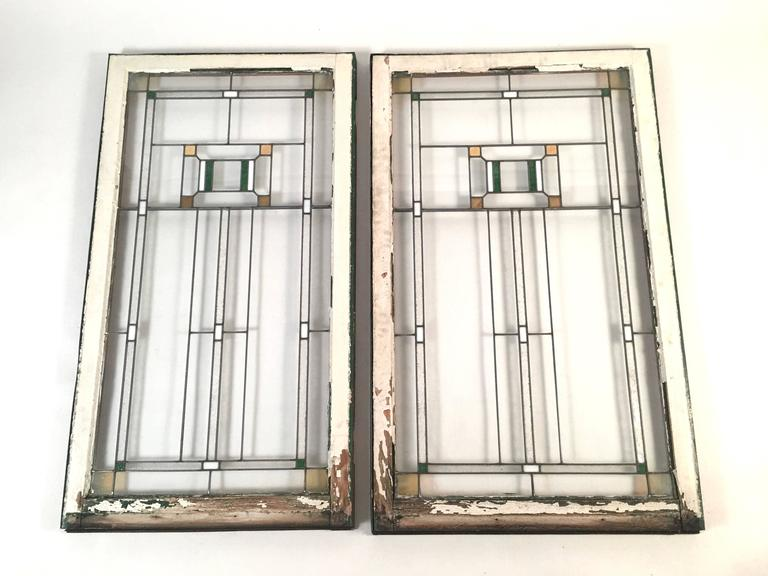 Prairie School Stained Glass Windows in the Manner of Frank Lloyd Wright For Sale 2