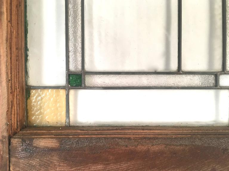 Metal Prairie School Stained Glass Windows in the Manner of Frank Lloyd Wright For Sale