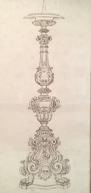 A fine quality 18th century Italian drawing of a Baroque pricket candlestick, in sepia ink on paper, joined in the middle, the pricket, or spike,  of the candlestick over a circular candle drip pan above a baluster turned base, elaborately