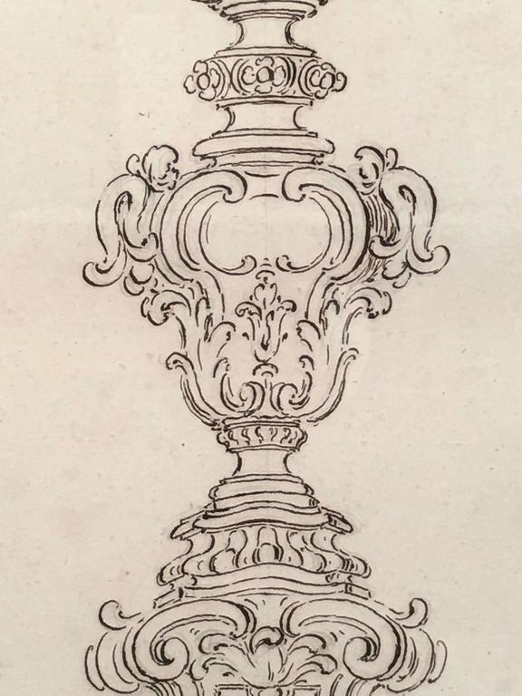 18th Century Italian Pen and Ink Baroque Candlestick Drawing In Good Condition For Sale In Essex, MA