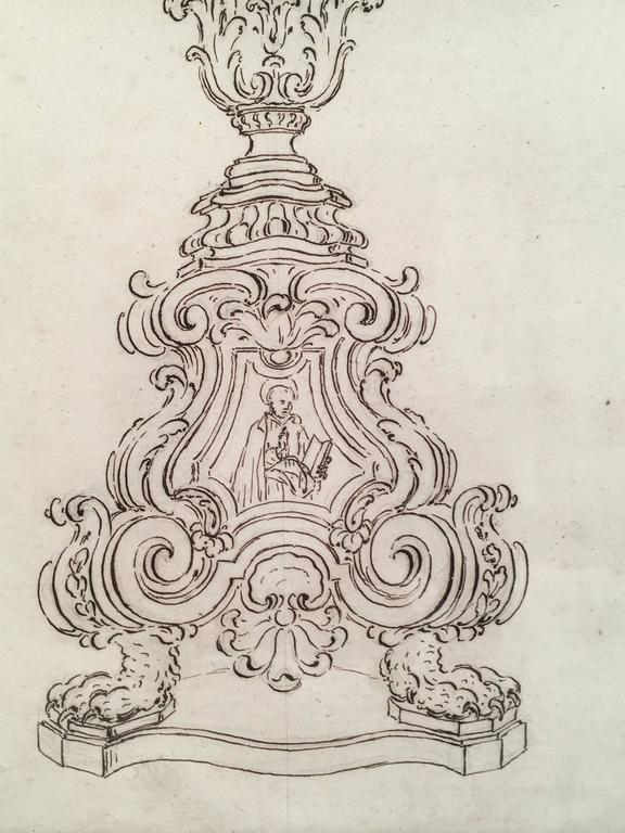 Glass 18th Century Italian Pen and Ink Baroque Candlestick Drawing For Sale
