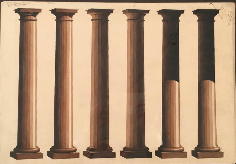 A neoclassical graphic and unusual architectural Beaux Arts neoclassical sepia watercolor study of shadows cast on six fluted Doric columns, annotated and signed in ink with the name of the artist Guillot (?) in the upper left and right hand