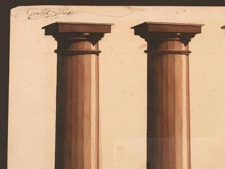 French Neoclassical Architectural Watercolor Study of Shadows on Columns For Sale