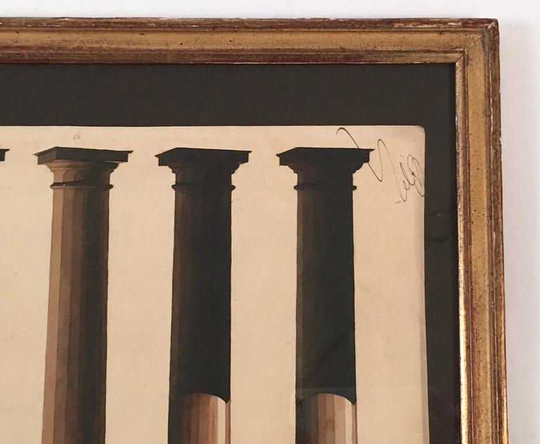 Hand-Painted Neoclassical Architectural Watercolor Study of Shadows on Columns For Sale