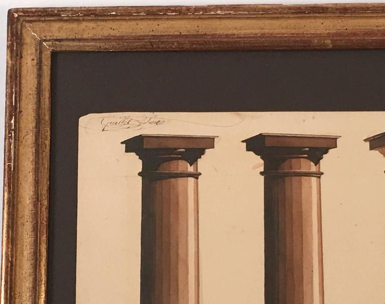 19th Century Neoclassical Architectural Watercolor Study of Shadows on Columns For Sale
