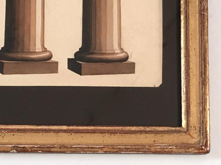 Giltwood Neoclassical Architectural Watercolor Study of Shadows on Columns For Sale