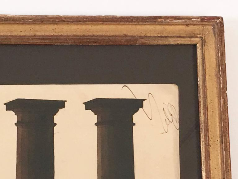 Neoclassical Architectural Watercolor Study of Shadows on Columns For Sale 1
