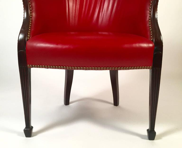 Hepplewhite Red Leather Barrel Back Armchair At 1stdibs