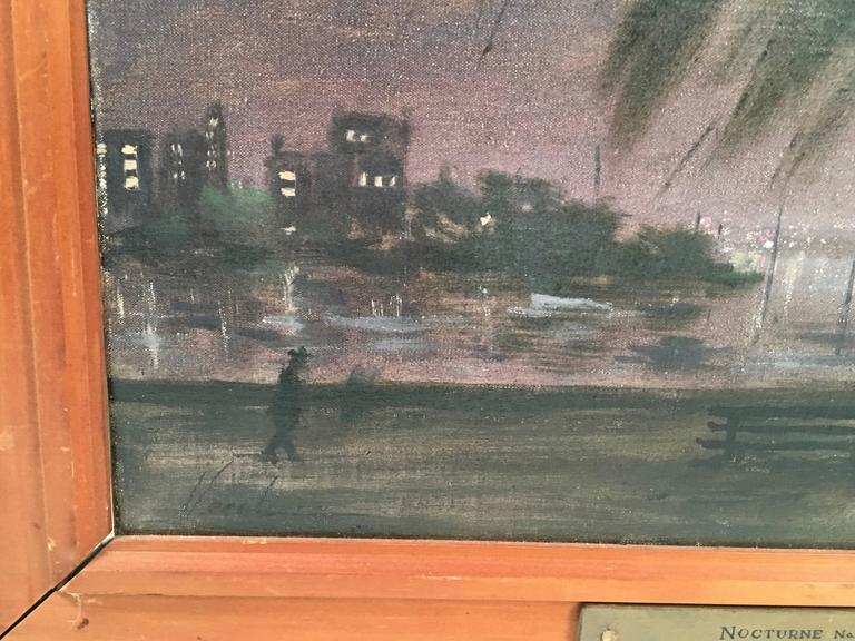 Mid-Century Modern Hayward Veal Australian Nocturne Cityscape Painting For Sale