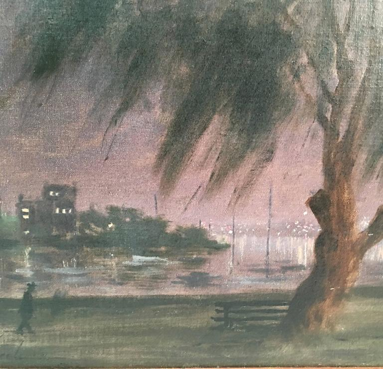 Hand-Painted Hayward Veal Australian Nocturne Cityscape Painting For Sale