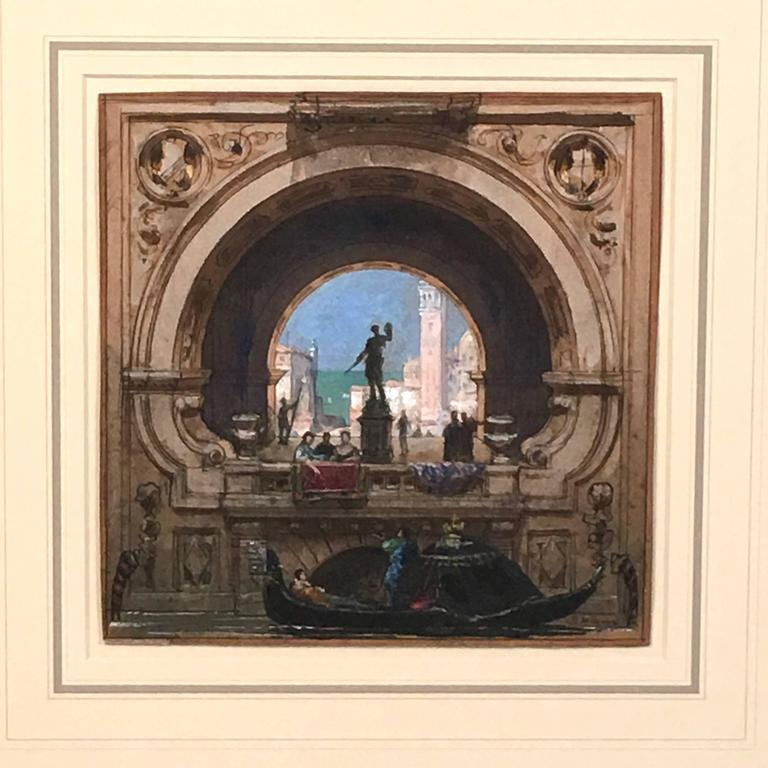 A beautifully rendered view of Venice in pastel, watercolor and pen and ink by French artist Henri Mayeux (1845-1929), depicting  a view, framed through an arch  of the campanile of St. Mark's in the distance, a sculpture on pedestal in the center