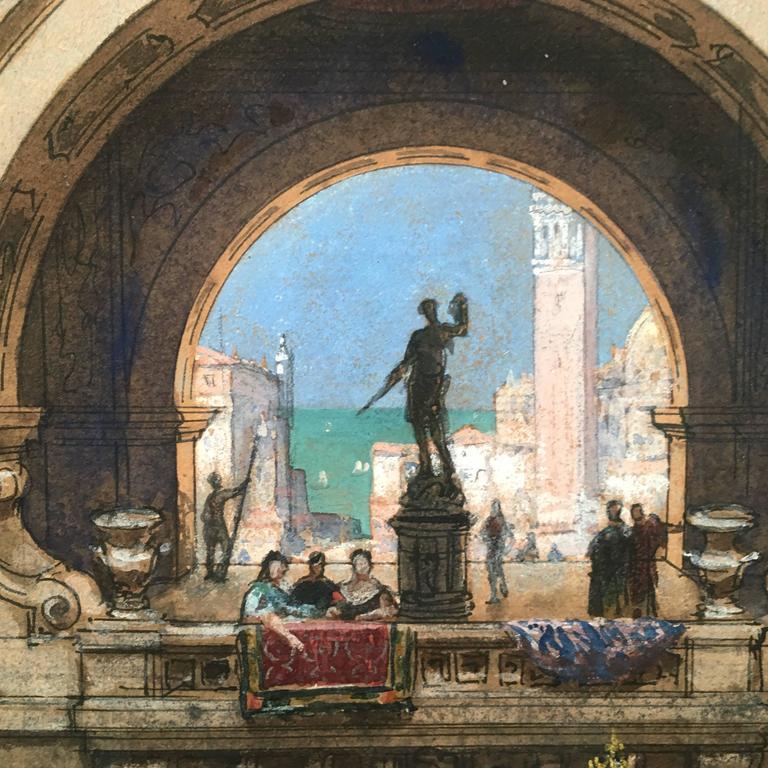 Beaux Arts Henri Mayeux Pastel Drawing of Venice For Sale