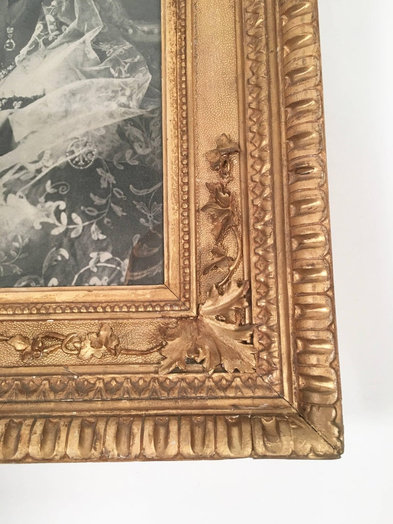 Diamond Jubilee Portrait of Queen Victoria in Antique Giltwood Frame In Good Condition For Sale In Essex, MA