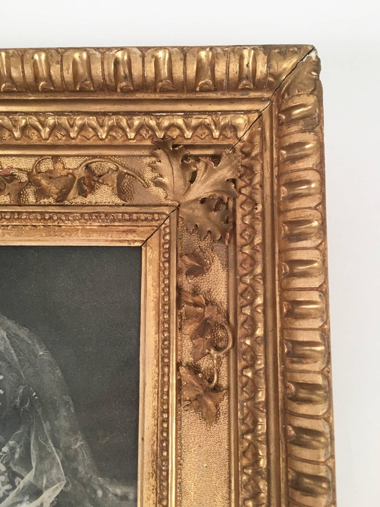 English Diamond Jubilee Portrait of Queen Victoria in Antique Giltwood Frame For Sale