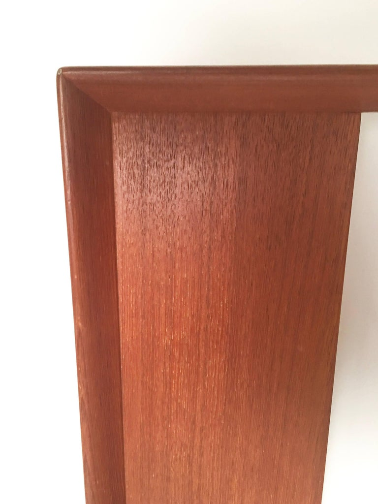 Danish Teak and Grass Cloth Double Sided King-Size Headboard by Falster In Good Condition For Sale In Essex, MA