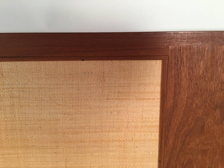 Danish Teak and Grass Cloth Double Sided King-Size Headboard by Falster For Sale 2