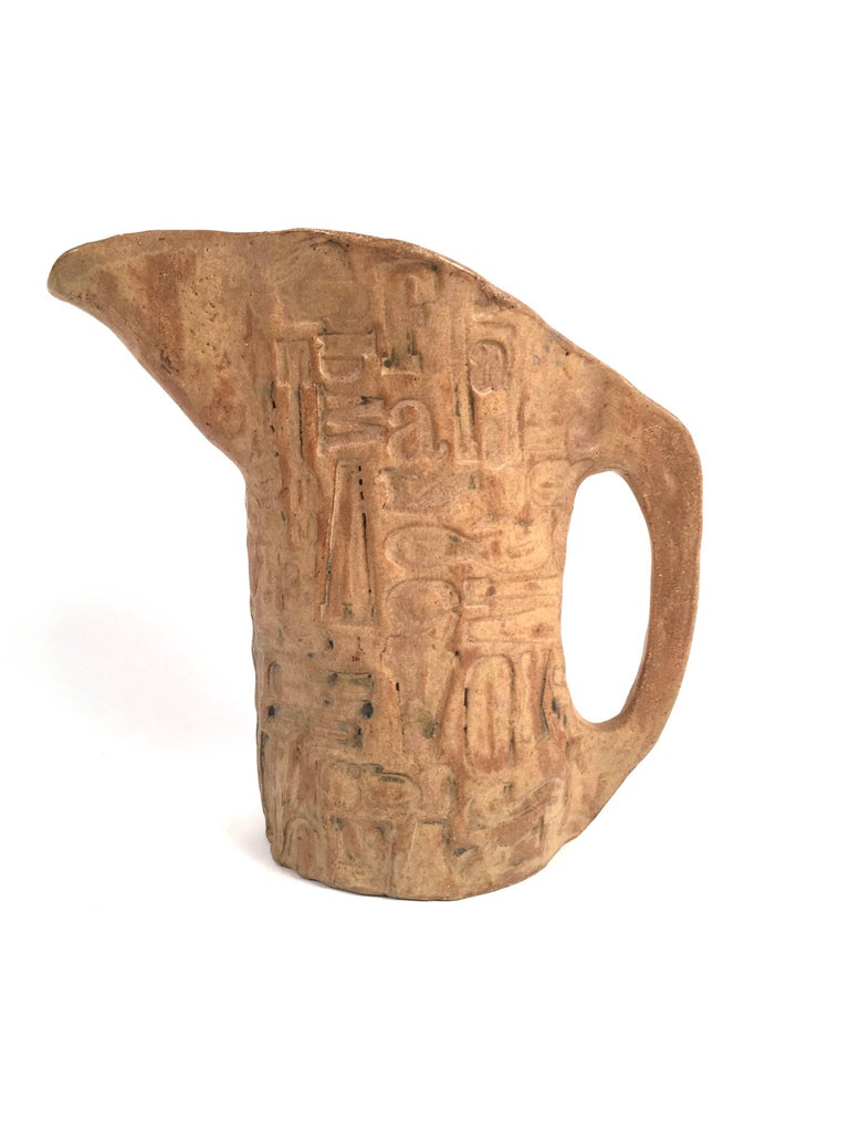 American Folk Art Primitive Pottery Pitcher with Typography, circa 1960s For Sale
