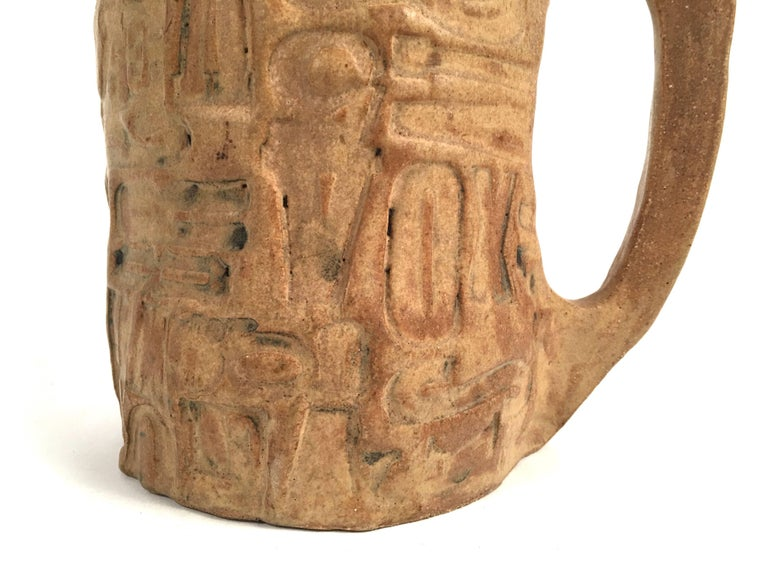20th Century Folk Art Primitive Pottery Pitcher with Typography, circa 1960s For Sale