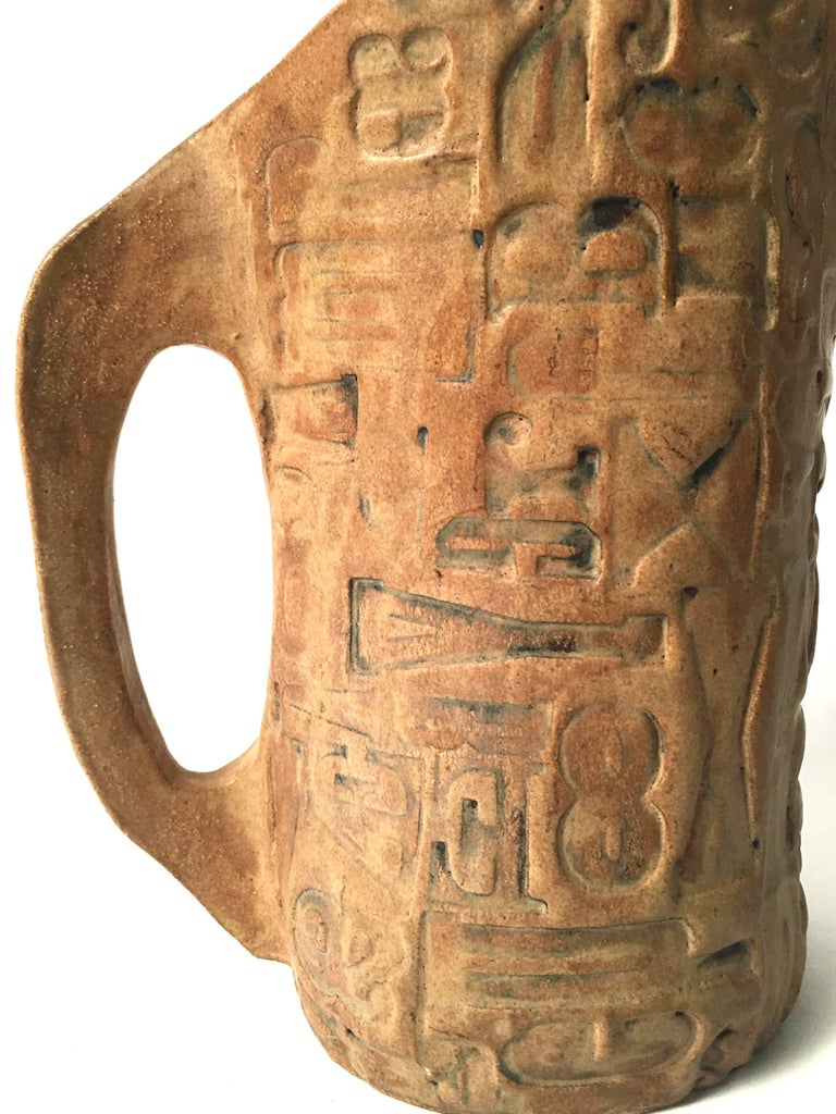 Folk Art Primitive Pottery Pitcher with Typography, circa 1960s In Excellent Condition For Sale In Essex, MA