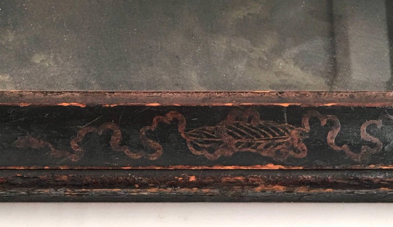Lacquered Early Queen Anne Black Japanned Chinoiserie Mirror For Sale