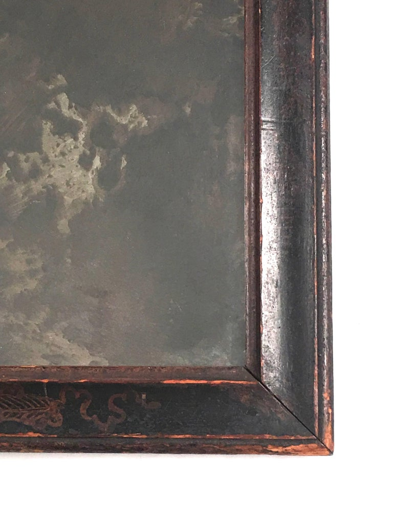 Early Queen Anne Black Japanned Chinoiserie Mirror In Good Condition For Sale In Essex, MA