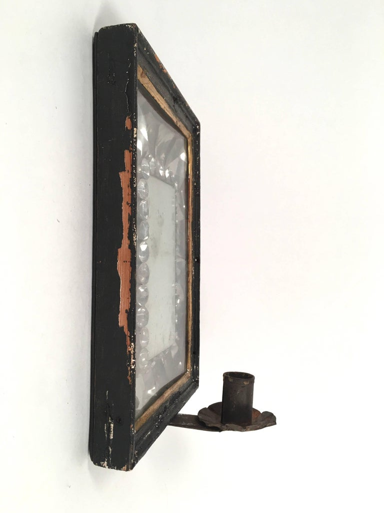 Early American Tin Mirrored Wall Sconce At 1stdibs
