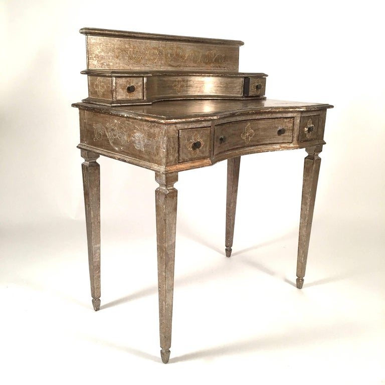 Italian silver leaf dressing or writing table for sale at