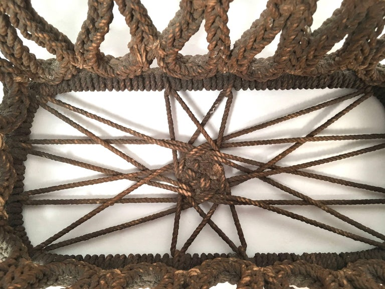 19th Century Sailor Made Ropework Basket 3