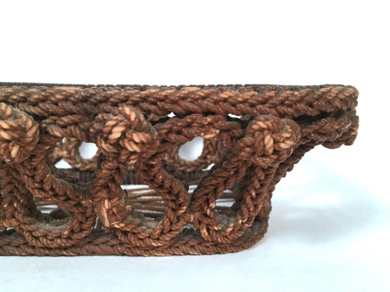 19th Century Sailor Made Ropework Basket 5