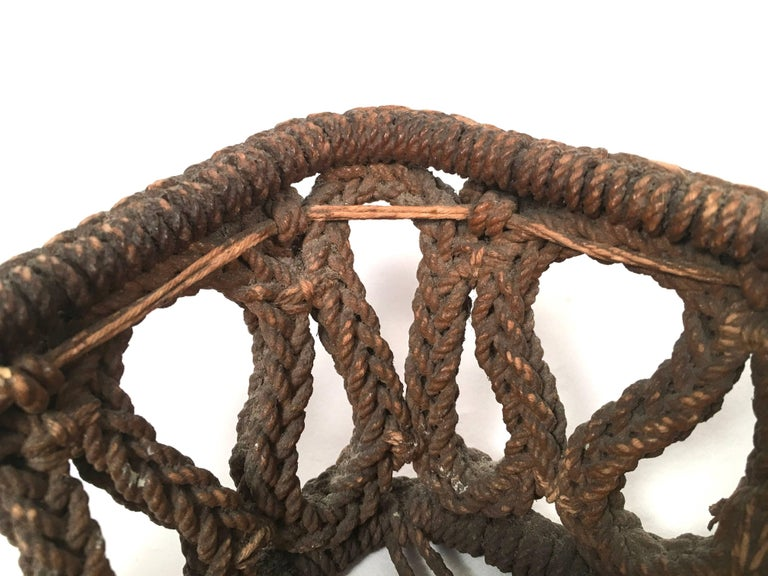 19th Century Sailor Made Ropework Basket 7
