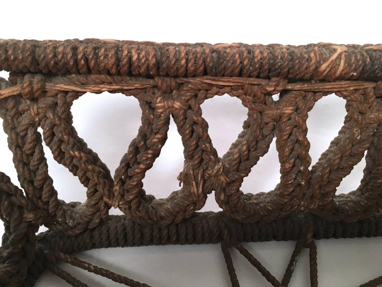 19th Century Sailor Made Ropework Basket 8