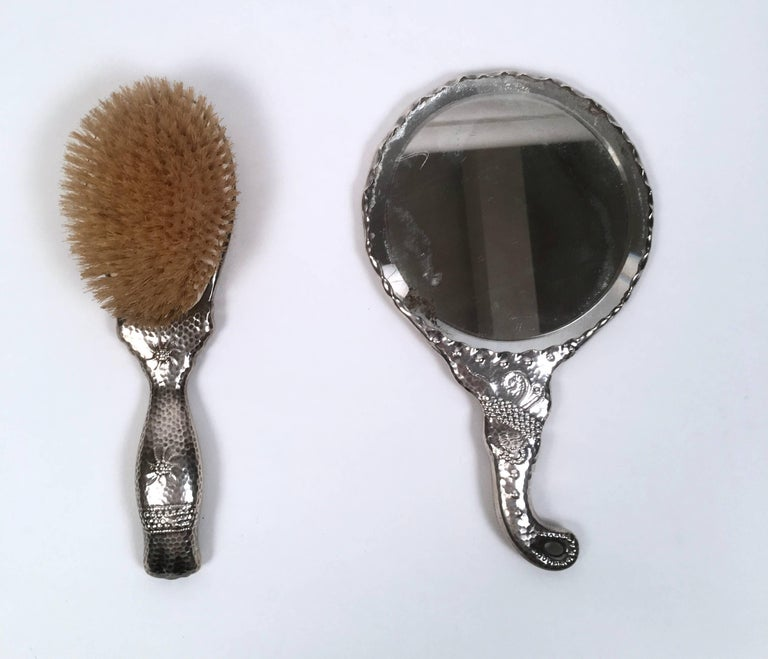 19th Century Sterling Silver Hand Mirror and Hair Brush w In Good Condition For Sale In Essex, MA