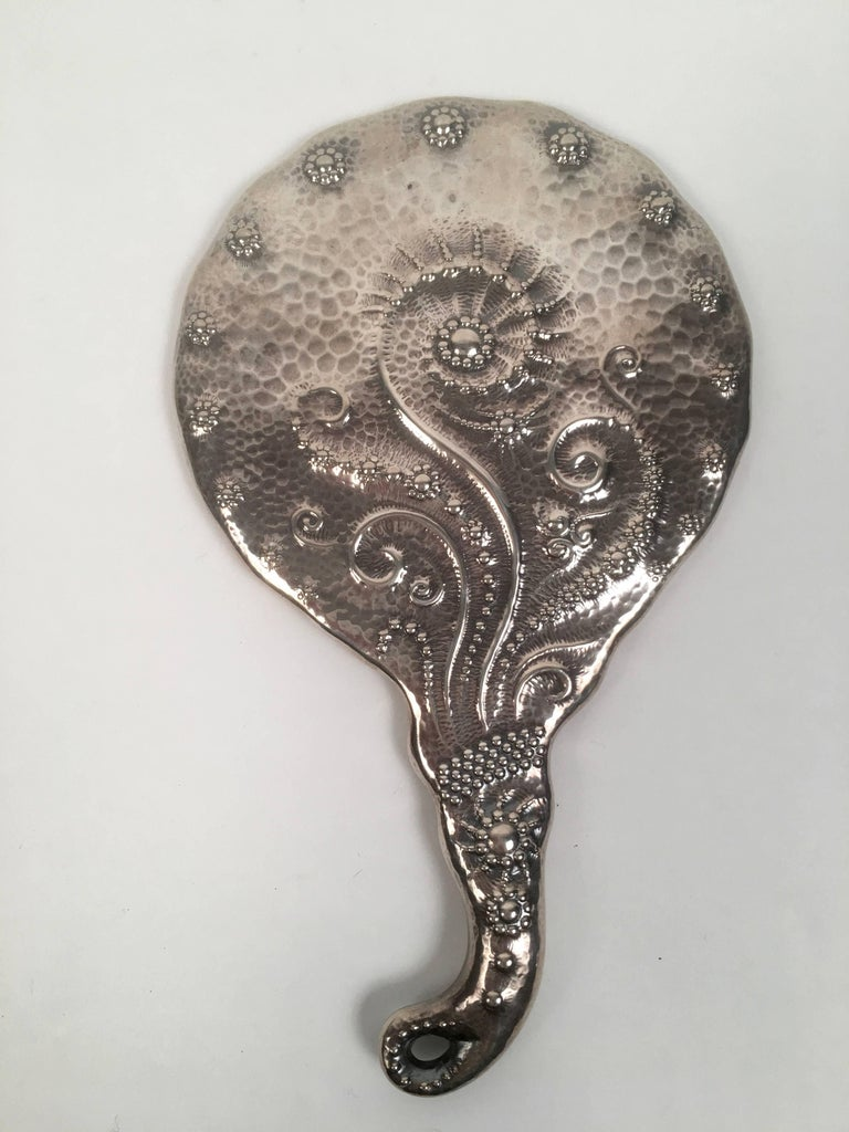 Aesthetic Movement 19th Century Sterling Silver Hand Mirror and Hair Brush w For Sale