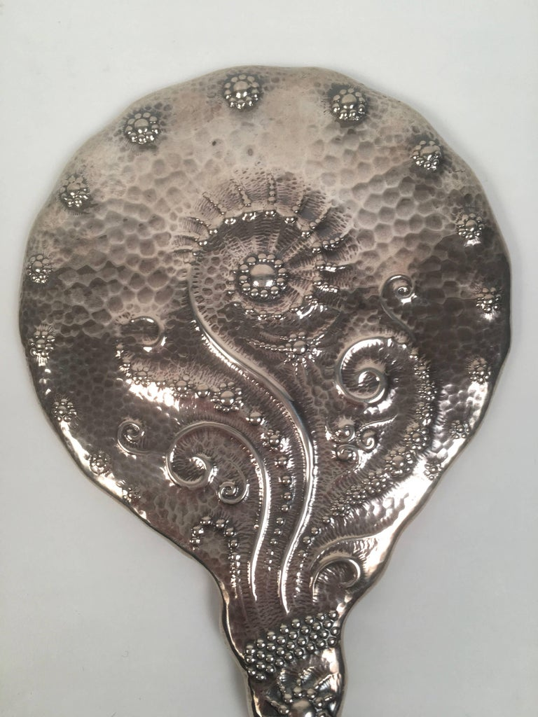 19th Century Sterling Silver Hand Mirror and Hair Brush w For Sale 3