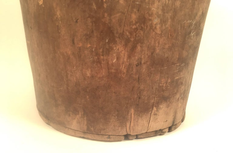 Wood Primitive Antique Carved Tree Trunk Storage Barrel For Sale