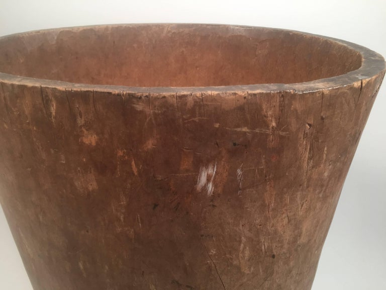 19th Century Primitive Antique Carved Tree Trunk Storage Barrel For Sale