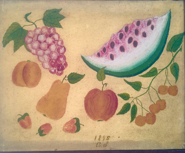 An American Folk Art still life painting, or theorem, of fruit, oil on canvas, signed in script A.S. 1895, depicting a free floating large slice of watermelon, grapes, a peach, pear, apple, three strawberries, and cherries on a branch, on a mustard