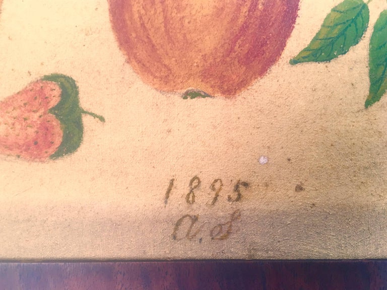 Hand-Painted American Folk Art Fruit Still Life Theorem Painting, circa 1895 For Sale