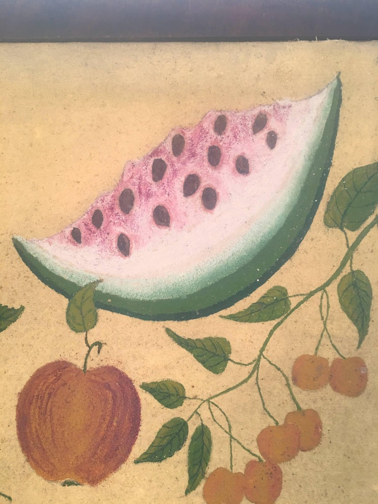 American Folk Art Fruit Still Life Theorem Painting, circa 1895 In Good Condition For Sale In Essex, MA